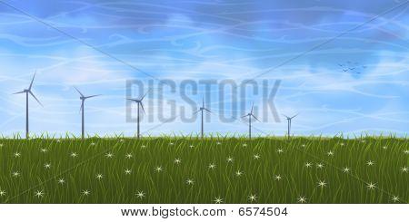 Wind Turbines On Grass