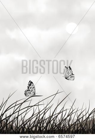 Black And White Vector Scenery