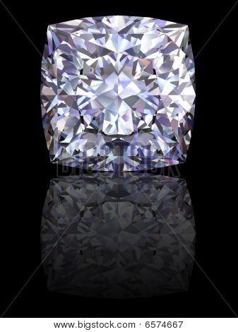 Square Diamond On Glossy Black Background