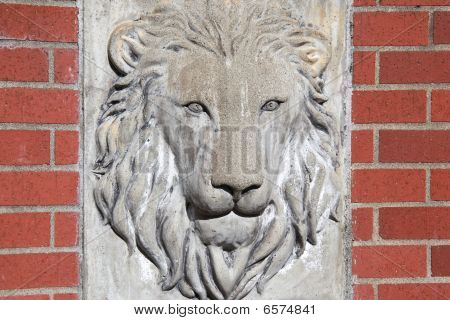 Lion illustrated face in concrete stone wall. poster