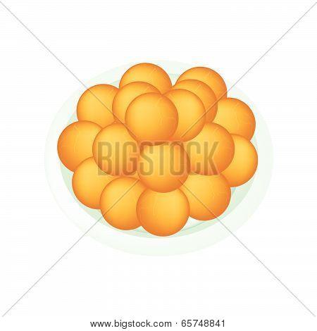 A Dish Of Deep Fried Sweet Potato Balls