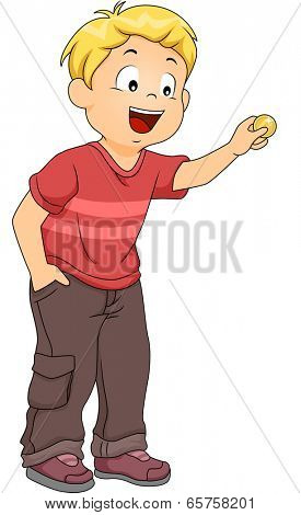 Illustration of a Little Boy Inserting a Coin in an Imaginary Machine