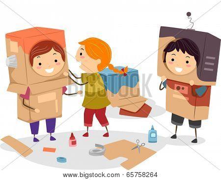 Illustration of Kids Making Makeshift Robots Using Cartons