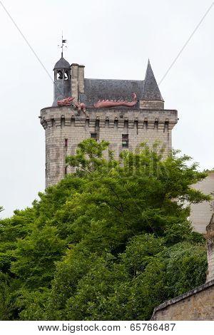 Castle of Chinon - La Tour de l'Horloge/ clock tower/. Loire Valley.