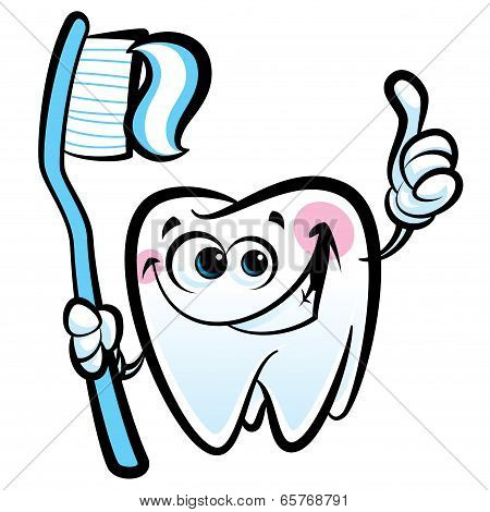 Happy Cartoon Molar Tooth Character Holding Dental Toothbrush With Toothpaste