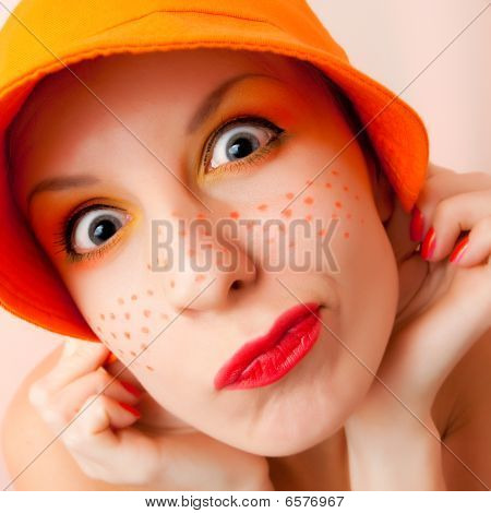Funny Portrait Of Grimacing Woman