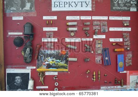 KIEV, UKRAINE - APR 24, 2014: Downtown of Kiev.Camp decoration with military items.Rioters camp.Putsch of Junta.April 24, 2014 Kiev, Ukraine