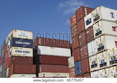 Container - Pile Of Containers And Refrigerated Containers