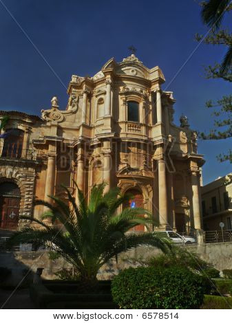 rokoko facade in baroque Noto Sicily, italy poster