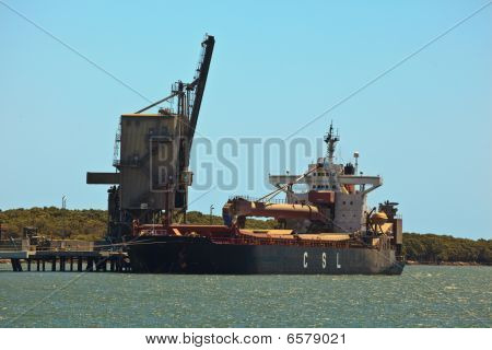 Loading Gantry And Cargo Ship In Brisbane Harbor