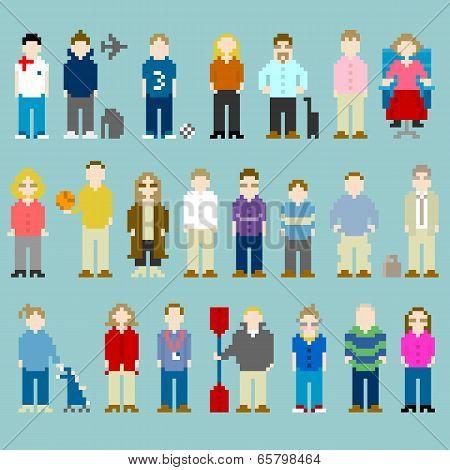 8-bit Pixel-art People From A Web Design Agency Office