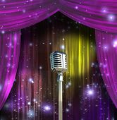 Classic Microphone with Colorful Curtains poster