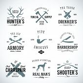 Set of Vintage Labels With Retro Typography for Men's Hobbies Such as Hunting Arms Dog-Breeding Car Repair etc poster