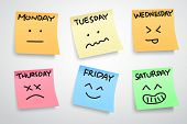 multiple color stickers displaying day of week and face expression on each separate color isolated on white background poster