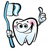 Healthy cute cartoon tooth character making a thumb up gesture while smiling happily and holding a dental tooth brush with tooth paste poster