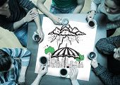 People sitting around table drinking coffee with page showing umbrella sheltering city doodle poster