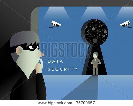 Data Security Concept In Flat Design