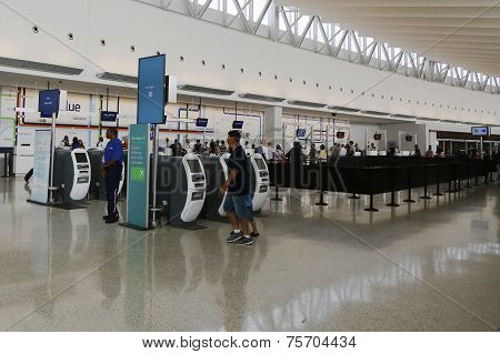 Inside of JetBlue Terminal 5 at JFK International Airport in New York