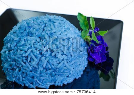 Blue Butterfly Pea Cooked Rice