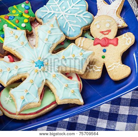 Homemade Christmas Gingerbread Cookies On The Plate