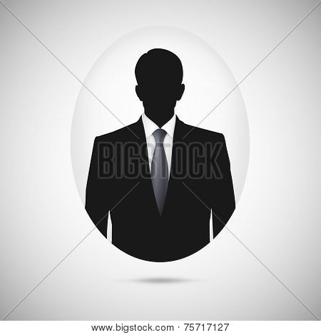 Male person silhouette. Profile picture whith tie.