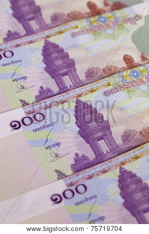 Different Cambodia Riels Banknotes On The Table