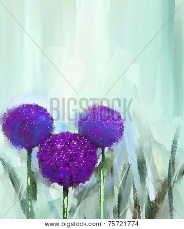 Abstract Purple onion flower .Oil painting