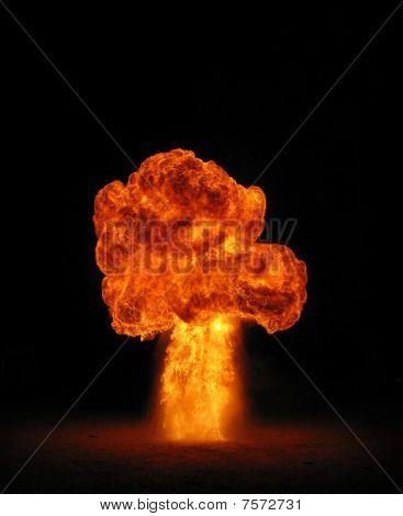mushroom cloud fireball explosion