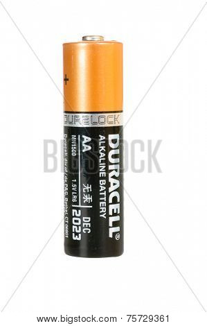 Hayward, CA - October 27, 2014: Duracell Alkaline AA battery in closeup