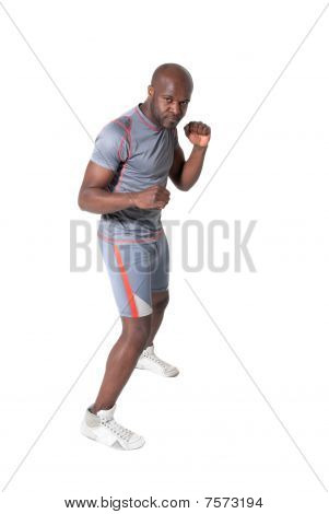 Black Man Training Isolated Full Lenght Portrait On White Background