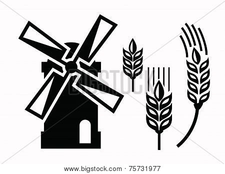vector black windmill icons set on white poster