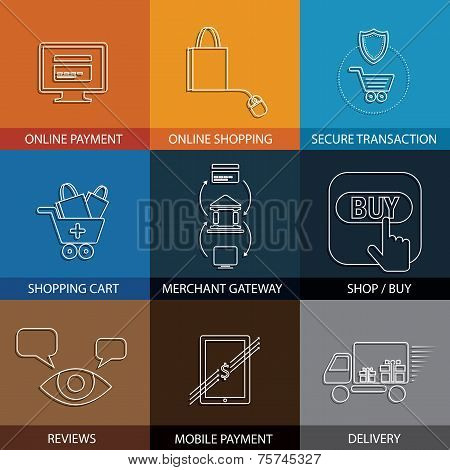Flat Line Icons On Shopping, E-commerce, M-commerce - Concept Vector