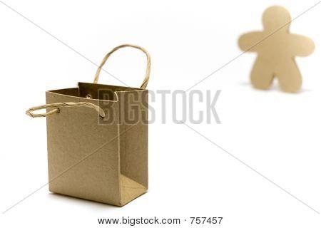 brown bag and figure