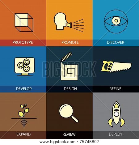 Flat design icons set of vector line prototype, promote, idea, refine, develop, review, deploy, expand modern web click infographics style vector illustration concept collection poster