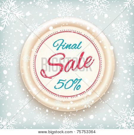 Final sale background on round banner and snow
