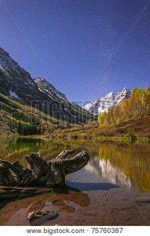 Maroon Bells At Night With Visible Milky Way Aspen Colorado