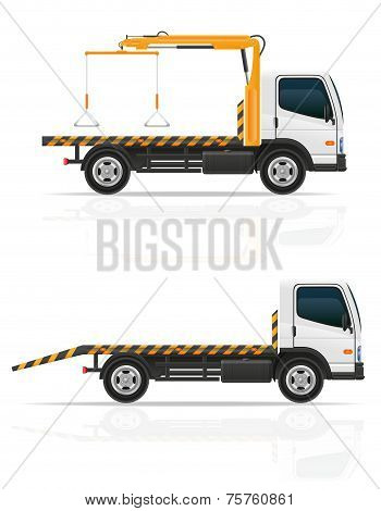 Tow Truck For Transportation Faults And Emergency Cars Vector Illustration