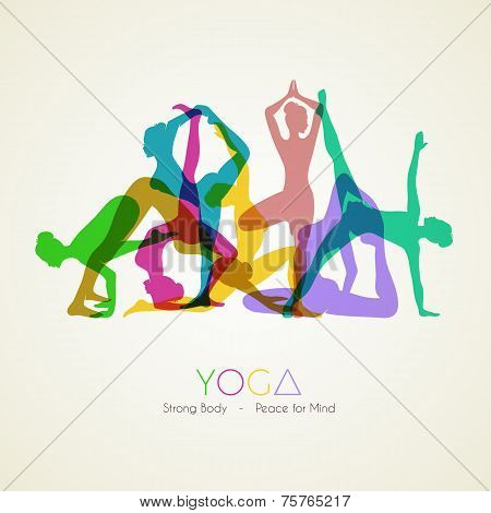 Yoga poses woman's silhouette
