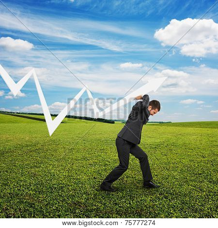 tired businessman in the suit supporting white pointer. photo at outdoor