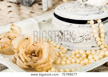 Romantic Background With Roses, Pearls Necklace, Old Lace