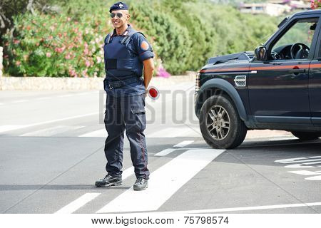 Italian special military police force carabinier on duty