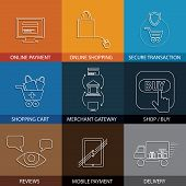 flat line icons on shopping e-commerce m-commerce - concept vector. This graphic also represents shopping on websites payment using credit cards merchant gateways secure transactions delivery poster