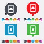 Smartphone virus sign icon. Software bug symbol.  24 colored buttons. Vector poster