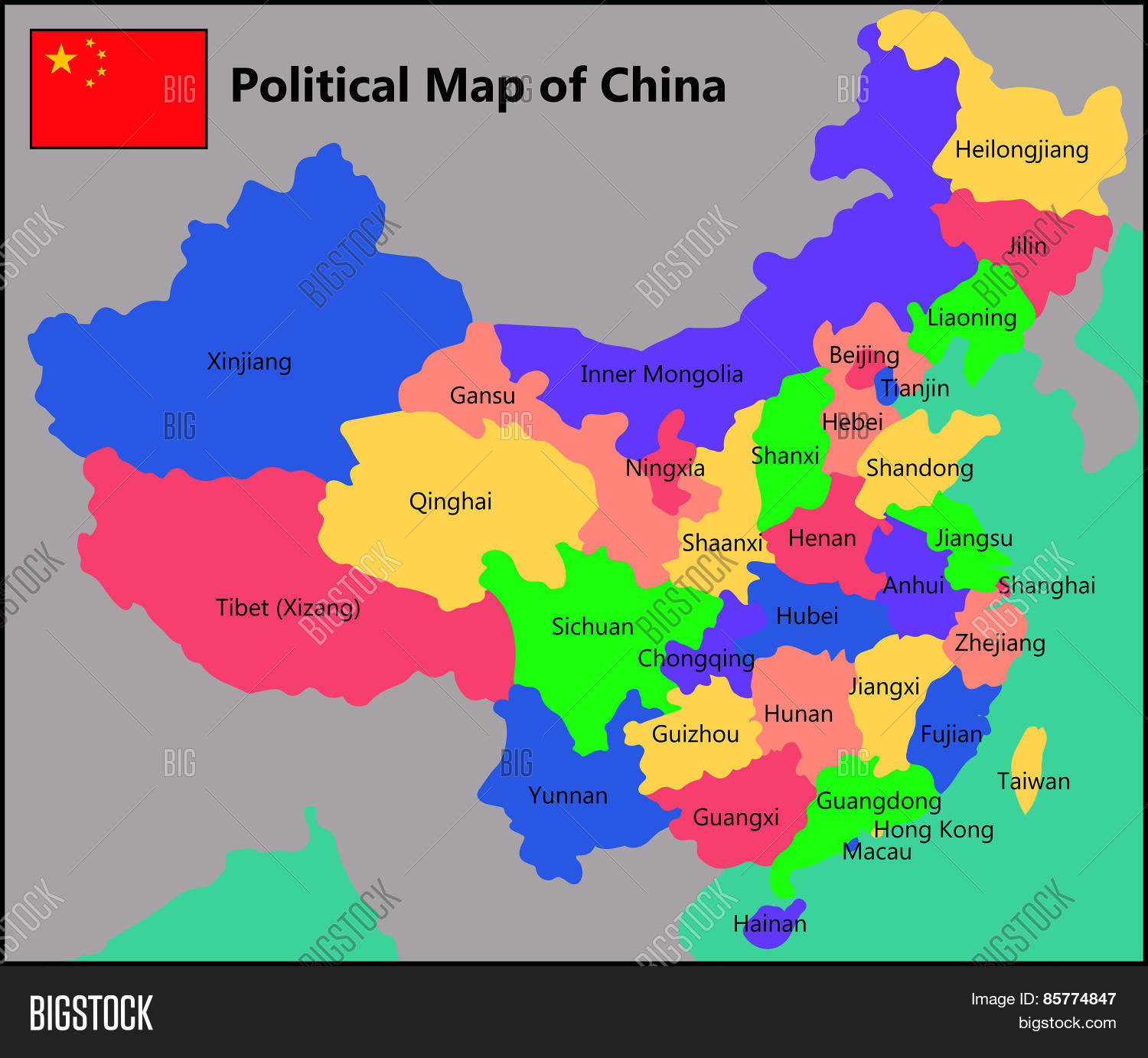 Political Map Of China Political Map China Vector & Photo (Free Trial) | Bigstock