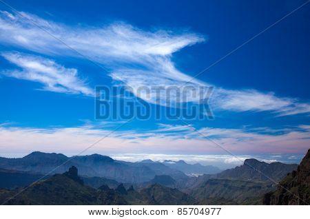 Beautiful Cirrus Clouds Over Caldera De Tejeda