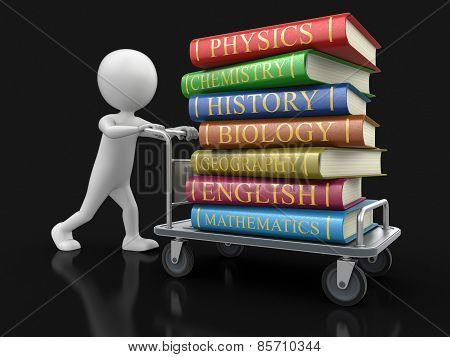 Man and Handtruck with textbooks (clipping path included)