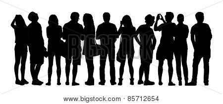 Large Group Of People Silhouettes Set 5