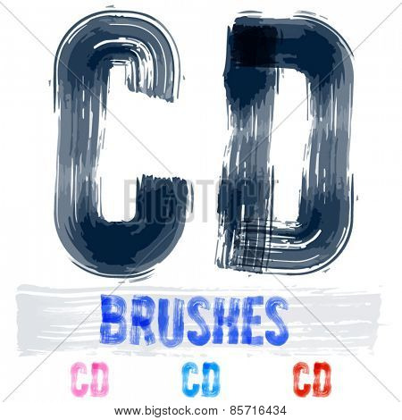 Vector set of extremely grunge underground style font. Hand-drawn brush alphabet. Letters C  D