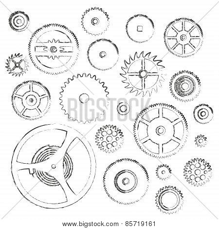 Various Cogwheels Parts Of Watch Movement Doodle Icons Eps10