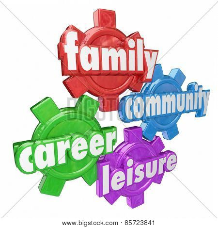 Family, Career, Community and Leisure words on four gears to illustrate balancing time spent on most important areas in life